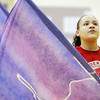 Don Knight | The Herald Bulletin<br /> Cené Dyson rehearses with the Anderson High School Winter Guard  as they practice their routine Elastic Heart at Erskine Elementary on Wednesday. Anderson is hosting their Festival of Colors Winter Guard contest on February 17th.