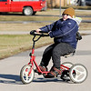 Don Knight | The Herald Bulletin<br /> The cold weather didn't stop Trenton Brown who was excited to ride his Rifton Adaptive Tricycle.