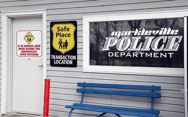 John P. Cleary | The Herald Bulletin<br /> The front of the Markleville Police Department, and their safe room, has been designated a Safe Place Transaction Location.