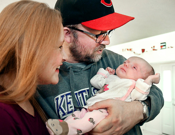 John P. Cleary | The Herald Bulletin<br /> Nancy and Lloyd Graves with their new baby girl Sadie. Nancy didn't know until about 12 hours before she gave birth to her that she was even pregnant.
