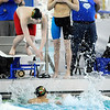 Don Knight | The Herald Bulletin<br /> Anderson's Aidan Barrett dives into the pool for the third leg of the boys 200 freestyle relay during the swimming sectional preliminaries at Hamilton Southeastern on Thursday. Anderson finished third in the relay to advance to the finals.
