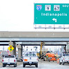 Don Knight | The Herald Bulletin<br /> Traffic on Scatterfield is restricted to two lanes while the overpass is widened as part of the construction adding travel lanes to Interstate 69.