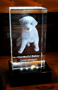 Don Knight | The Herald Bulletin Loyal and True, a pet cremation service offered by Loose Funeral home, offers several options for remembering your pet including this paper weight.