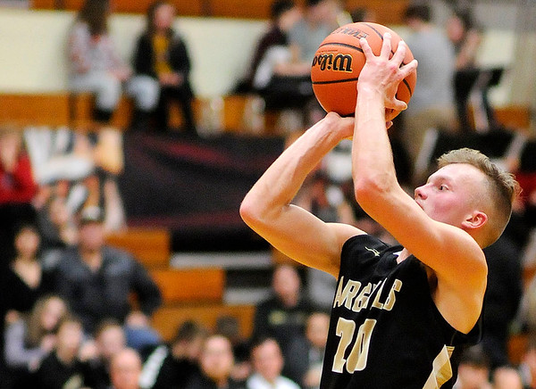 Don Knight | The Herald Bulletin<br /> Madison-Grant's Wyatt Rudy shoots as the Argylls traveled to Alexandria on Saturday.