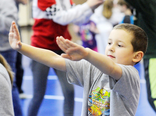 Don Knight | The Herald Bulletin<br /> Sawyer Gerkin practices the moves he learned during a free children's safety program at the Mill Creek Civic Center on Wednesday.