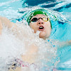 Don Knight | The Herald Bulletin<br /> Pendleton Heights Evan Fredericks competes in the 100 backstroke preliminary during the boys swimming sectional at Hamilton Southeastern on Thursday. Fredericks finished seventh and qualified for the finals.
