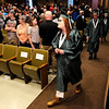 Don Knight | The Herald Bulletin<br /> Mikaela Klujeske-Rodriquez walks in the procession during the Excel Center's graduation at the Anderson City Building on Friday.