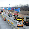 Don Knight | The Herald Bulletin<br /> Northbound traffic on Interstate 69 is reduced to one lane as crews work to fill several potholes on Tuesday. Drastic swings in temperature left the roadway between Anderson and Dalevile pockmarked and lead to several flat tires for motorists.