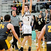 Don Knight | The Herald Bulletin<br /> Daleville's Derrick Lawrence releases a three-point basket as the Broncos hosted the Alexandria Tigers on Tuesday.