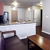 John P. Cleary | The Herald Bulletin<br /> The new Fieldhouse Apartments come completely furnished including all appliances. This look is from the living area toward the open kitchen in a one-bedroom apartment.