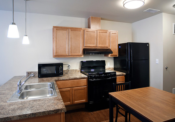 John P. Cleary   The Herald Bulletin<br /> The new Fieldhouse Apartments come completely furnished including all appliances as seen here in the kitchen area.