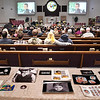 John P. Cleary | The Herald Bulletin<br /> Family photos of Aiden Ayres adorned the entrance of the sanctuary of Middletown Church of the Nazarene Friday for the funeral service of the 15-year-old Shenandoah High School sophomore that took his own life while battling depression.