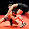 Don Knight | The Herald Bulletin<br /> Shenandoah's Silas Allred wrestles Nick Willham from Greenwood Community in the 195 pound state championship at Bankers Life Fieldhouse on Saturday.