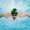 Don Knight | The Herald Bulletin<br /> Pendleton Heights Cameron Kordes competes in the 100 butterfly during the boys swimming sectional preliminaries at Hamilton Southeastern on Thursday.