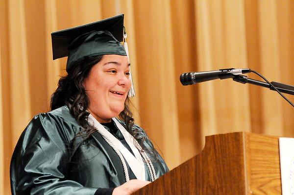 Don Knight | The Herald Bulletin Martha Bess speaks during the Excel Center's graduation at the Anderson City Building on Friday.