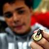 John P. Cleary | The Herald Bulletin<br /> Eight-grade COMPASS student Alex Smith shows his My Intent bracelet he has made with his word of focus, CONTROL.