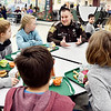 John P. Cleary | The Herald Bulletin<br /> Madison County Sheriff's Department DARE officer Darren Dyer talks with students during their lunch period at Maple Ridge Elementary School.