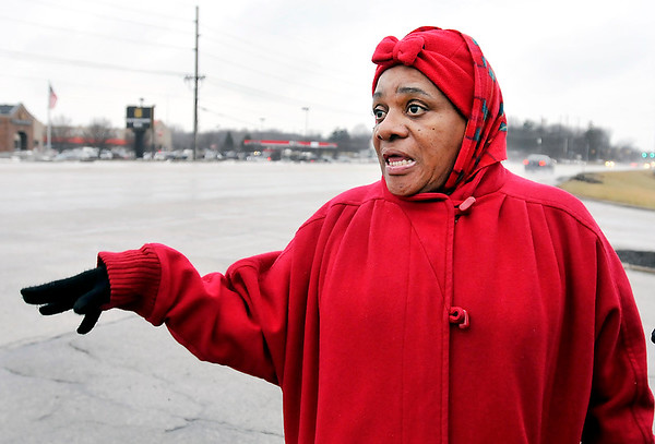 John P. Cleary | The Herald Bulletin<br /> Cynthia Young, a resident of Cross Lakes Apartments, wants a crosswalk placed across North Scatterfield Road so pedestrians from the apartments can walk across the street to the Cross Street Shopping Center.