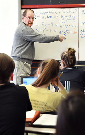 John P. Cleary   The Herald Bulletin<br /> Dual credit algebra class at Liberty Christian High School taught by Duane Wolfe of Ivy Tech Community College.