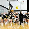 Don Knight | The Herald Bulletin<br /> Cheerleader Eve Emery and mascot David Shellabarger lead the Broncos on to the court as Daleville hosted Alexandria on Tuesday.