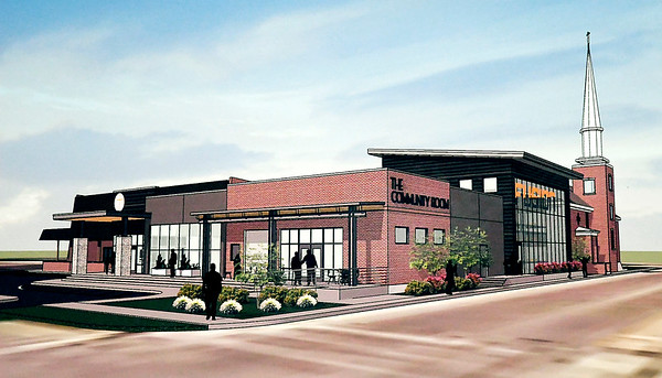 This is a artist  rendering of the new Community Center to be built onto the existing First Church of the Nazarene building in the 2300 block of Jackson Street.