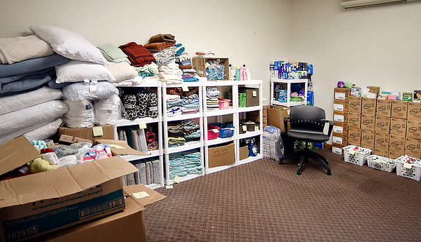 Willow Place, the not for profit emergency women's shelter, relies on donations of all kinds of household items in which to operate the facility. Here their storage room is full of the day-to-day items needed to supply the shelter.