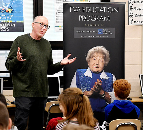 Ted Green, of Ted Green Productions, tells these Lapel Middle School students what they are about to see in the Eva Kor Experience with the virtual reality headsets. Green is the filmmaker that make the documentary on Eva Kor's life that is used for virtual reality exhibit.