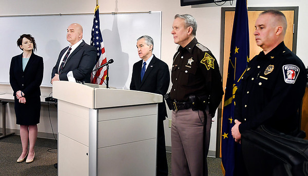 U.S. Attorney Josh Minkler, center, holds a press conference Friday with Assistant U.S. Attorney Lindsay Karwoski, FBI Supervisory Special Agent Ed Wheele, Madison County Sheriff Scott Melinger and Anderson Police Department Assistant Chief Mike Lee on federal indictments made on a Anderson and Indianapolis drug trafficking organization.