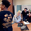 Anderson High School junior Dacoven Kirksey shows off his Youth Leadership Academy Dance marathon 2020 t-shirt as fellow YLA members Jason Bale, James Glazebrooks and Arabella Lavelle check it out as they discuss the annual fundraiser coming up next weekend at school.