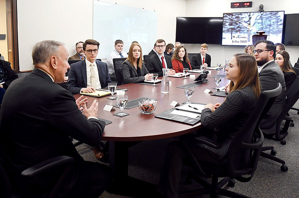 Assistant Security of Homeland Secretary John Hill met with Anderson University political science, cybersecurity and national security majors Thursday in the Situation Room while on campus at the invitation of University President John Pistole.