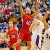 Frankton junior Chariti Hunt goes in for a lay up during the Lady Eagles game against the Elwood Lady Panthers.