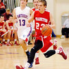 Frankton junior Aaron Korn brings the ball downcourt for the Eagles.