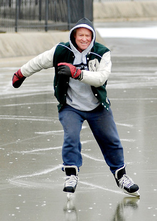 Gary Myers of Pendleton enjoys the brisk weather Wednesday because it has helped freeze over the pond in Falls Park in Pendleton so he can enjoy what he loves to do, ice skate.
