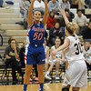 Tenasha Stephens takes a three point shot for the Lady Panthers during Elwood's game against Lapel High School.