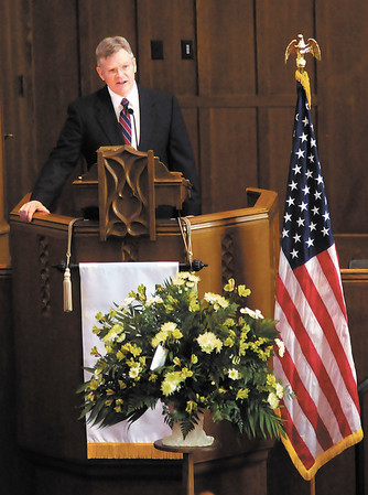 Robert Rock eulogizes his father, former Anderson Mayor Bob Rock, during his memorial service at First Presbyterian Church on Saturday.