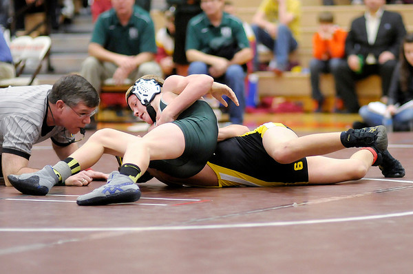 Pendleton Heights' Tyler Flood wrestles Lapel's Ian Lamb in the 106 pound championship during the Wrestling Sectional at Hamilton Heights on Saturday. Flood went on to win by fall.