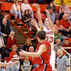 Frankton Eagle Aaron Korn shoots over the outstretched arm of a Blackford defender.