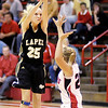 Lapel's Kaitlin Dobbins shoots from the top of the key as Frankton hosted Lapel on Tuesday.