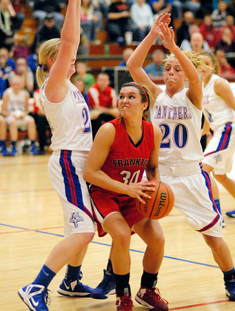 Kelsey Key drives through the foul lane for the Frankton Lady Eagles.