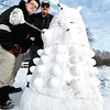 Josh Morrow, 19, and his father Joel Morrow crated this snow Dalek.