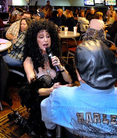 Cher sings to the crowd around the Legend Stage at Hoosier Park Racing & Casino Monday evening as part of their Las Vegas LIVE The Big Show New Year's Eve party.