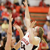 Frankton's Kaylee Irwin shoots over the defense of Lapel's Morgan Tarlton as the Eagles hosted the Bulldogs on Tuesday.