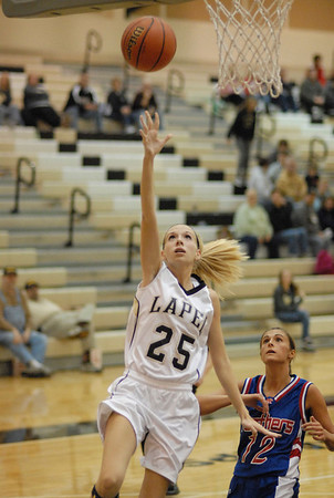 Kaitlin Dobbins puts two points on the scoreboard for Lapel High School.