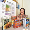 Michelle Richart, community educator/diabetes educator for St. Vincent Anderson Regional Hospital, with some food items she uses  to teach how to read food labels to help make healthful food choices.