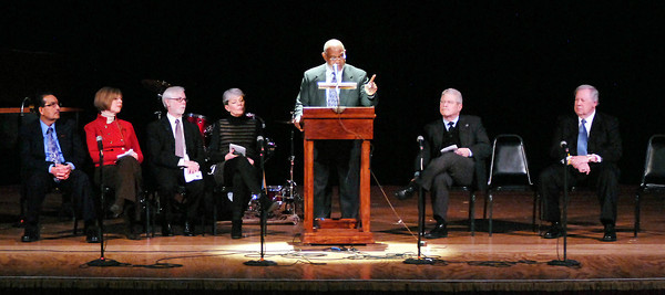 THB photo/John P. Cleary<br /> Dr. James Lewis, Associate Dean and Professor of Theological Ethics at Anderson University, gave the keynote address at Anderson's annual city-wide celebration of Dr. Martin Luther King Jr. Day.