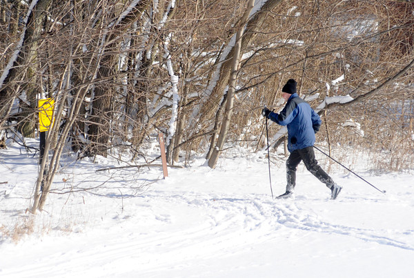 Don Knight / The Herald Bulletin<br /> A cross country skier hits the trails at Mounds State Park on Friday.