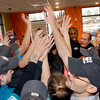 THB photo/John P. Cleary<br /> All the Captain D's employees gathered for a pre-opening pep talk and ended with an hands-on rally cheer.
