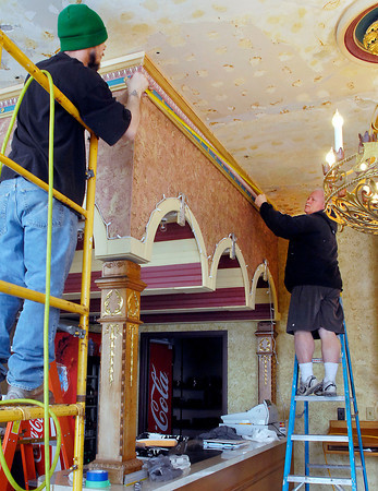 THB photo/John P. Cleary<br /> Paul Shively Construction working on repairs to the gift shop and concession area of the Paramount Theatre after water damage from busted pipes.