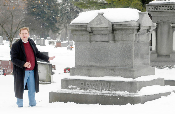 Don Knight / The Herald Bulletin<br /> Chet Green talks about Garret Browne who is buried in East Maplewood Cemetery. Browne was a druggist and prominent Anderson business man who accidentally poisoned himself in the 1800s.
