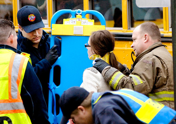 THB photo/John P. Cleary<br /> Six ACS students were treated at the scene then transported to the hospital after two school buses collided with each other Monday afternoon at 29th and Madison Ave.